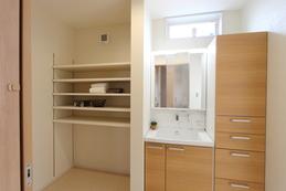 Changing room(脱衣室) 可動棚で大容量の収納ができます