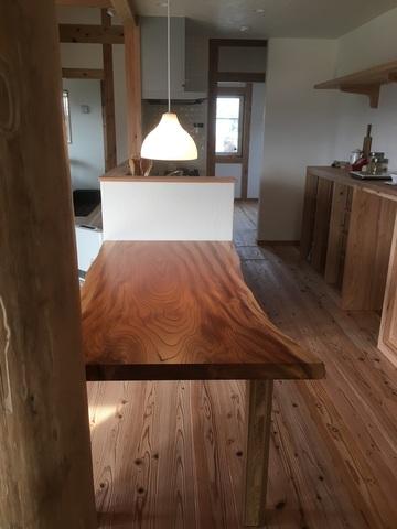 三田市Y様邸 けやき一枚板テーブル