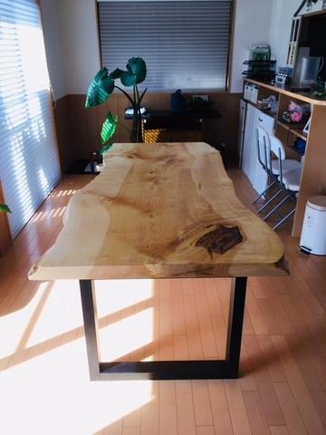イチョウの一枚板テーブル(販売店:イオンタウン富雄南店)