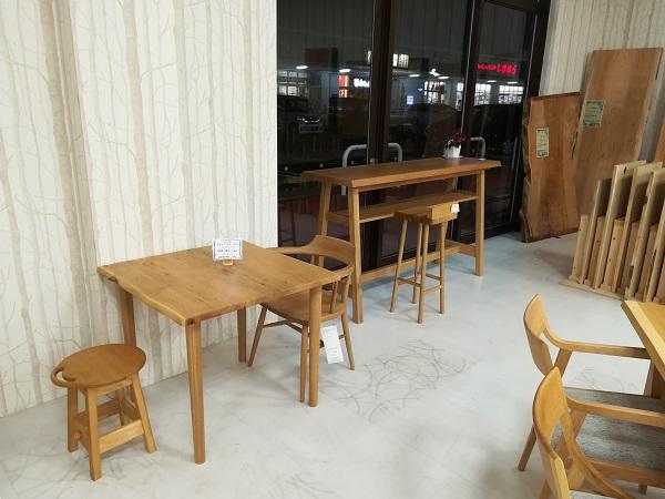 ナラ材 無垢材ダイニングテーブル 無垢材スタンディングテーブル カウンターテーブル